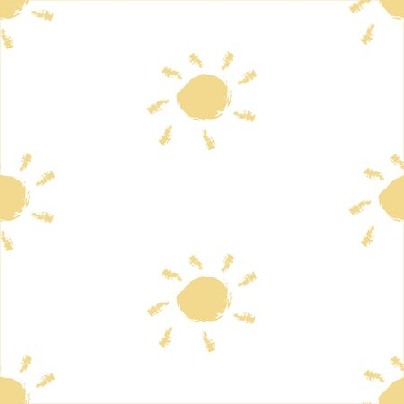 Seamless pattern with hand drawn suns on simple background. Vector Illustration