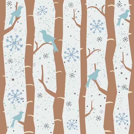 Seamless Tree Pattern with big birds and snowflakes. Winter Design. Vector Illustration. Illusztráció