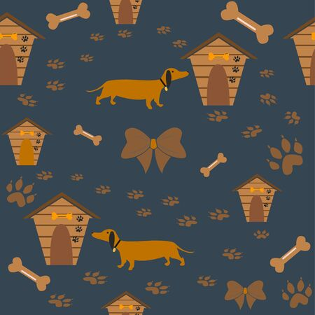 Seamless Dachshund Dog Pattern with bones, bows, dog houses and footprints. Vector Illustration
