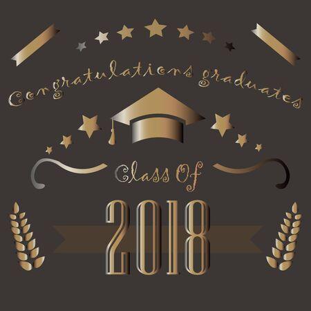 Class of 2018. Graduation Theme. Vector Illustration.