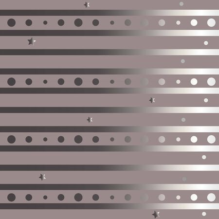 Funky Pattern with silver stripes and bubbles. Vector Illustraiton