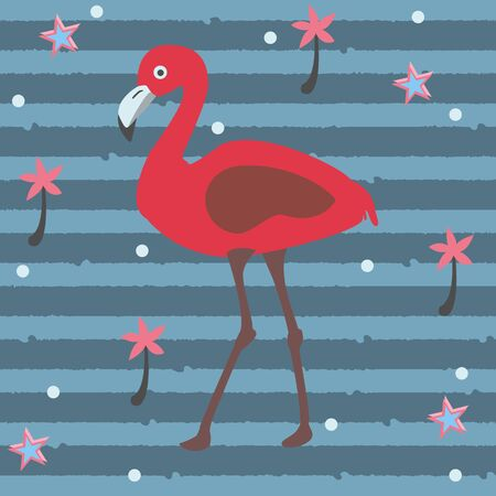Cute Pink Flamingo with Palms and Stars on a Blue Background with Stripes. Summer Collection. Vector Illustration.