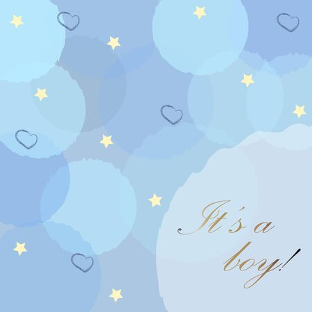 Baby Boy Birth announcement with blue bubbles, stars and hearts on modern bubbly background.