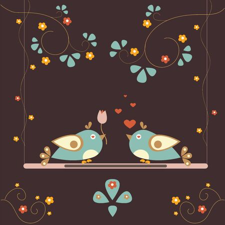 Cute Birds expressing love to each other. Valentine's day Theme. Vector Illustration