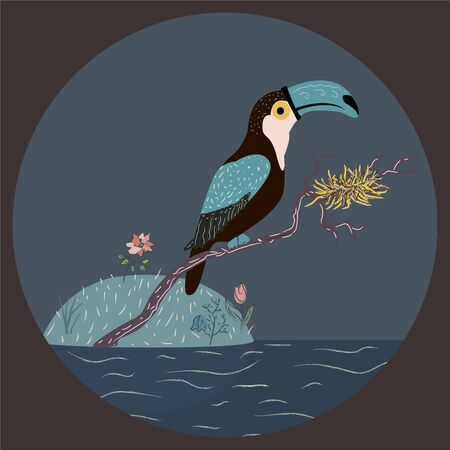 Toucan sitting on a branch with nest over the water. Vector Illustration