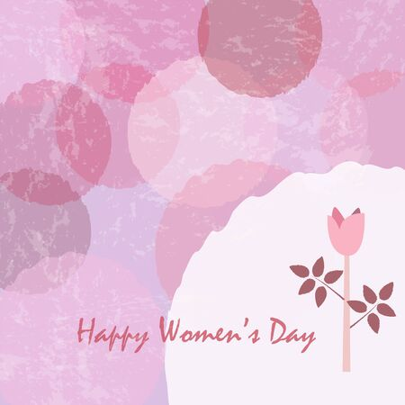 Happy Womans Day Greeting card with cute rose. Greeting Card. Vector Illustration.