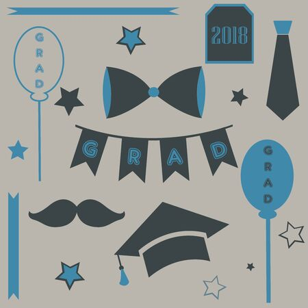 Graduation Package in retro style. vector Illustration