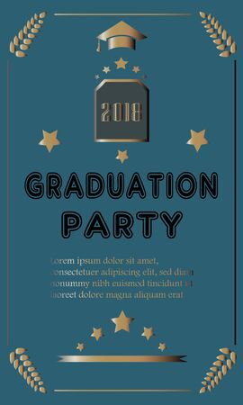 Graduation of Year 2018. Graduation Poster. Vector Illustration Banque d'images - 133156517