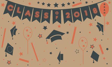Graduation Class of Two Thousand Eighteen. Paper Background. Graduation Party Invitation. Flat Design. Balloons, stars, graduation caps, serpentine, confetti, etc. Retro Style