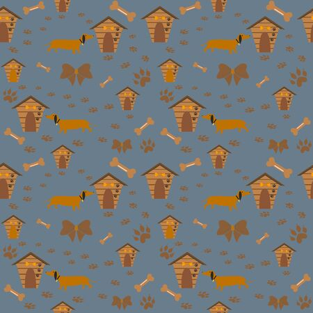 Seamless dachshund Dog Pattern with paws and dog houses. Vector Illustration