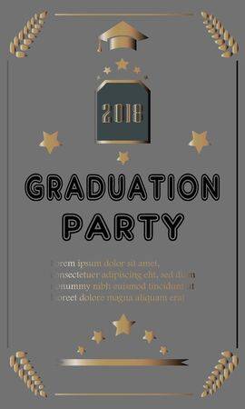 Graduation Party Announcement  with golden text and elements. Vector Illustration Banque d'images - 133237540