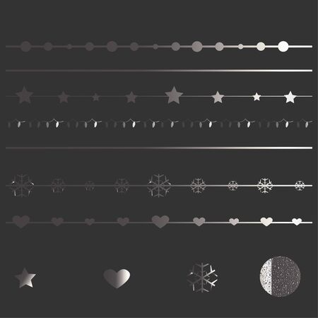 Set of silver elements for borders and cards. Golden Collection. Vector Illustration Ilustrace
