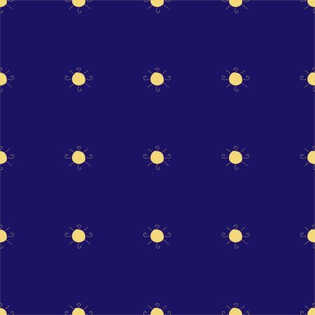 Seamless pattern with suns on dark blue background. Vector Illustration 스톡 콘텐츠 - 133237634