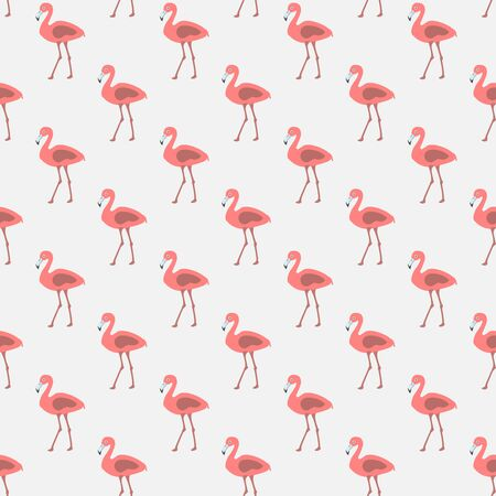 Seamless pattern with pink flamingos on white background. Vector Illustration 일러스트