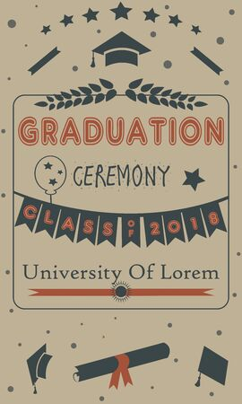 Graduation Party Announcement  with golden text and elements. Vector Illustration Banque d'images - 133237953