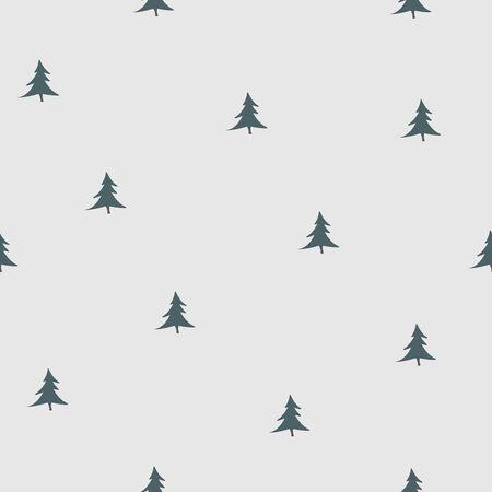 Seamless tree pattern on black.Vector Illustration