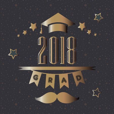 Graduation Party Announcement  with golden text and elements. Vector Illustration Banque d'images - 133238565