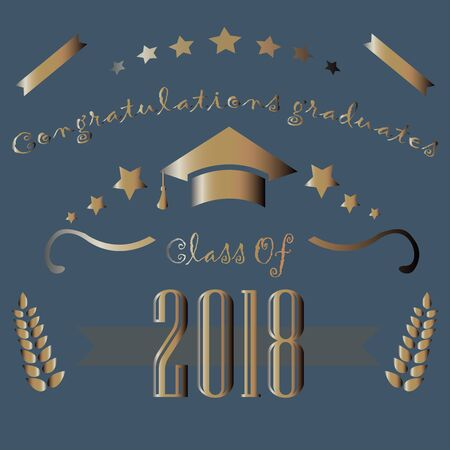 Congratulations graduates of year 2018. Vector Illustration Banque d'images - 133229750