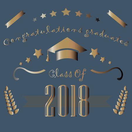 Congratulations graduates of year 2018. Vector Illustration