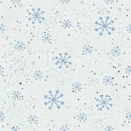 Seamless Winter Snowy Background filed with snow and snowflakes. Winter, Merry Christmas collection. Falling Snow. Blue Background.