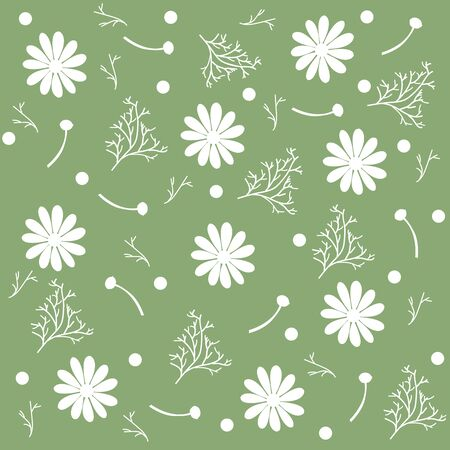 Seamless pattern of chamomile flowers and branches isolated, green background. Vector Illustration Banco de Imagens - 133239060