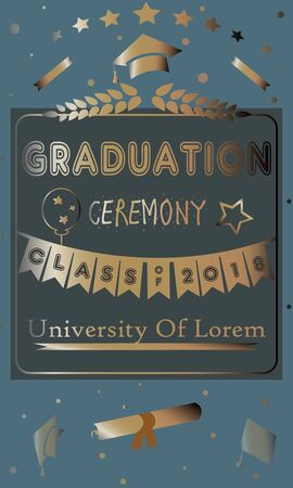Graduation Party Announcement  with golden text and elements. Vector Illustration Banque d'images - 133239204