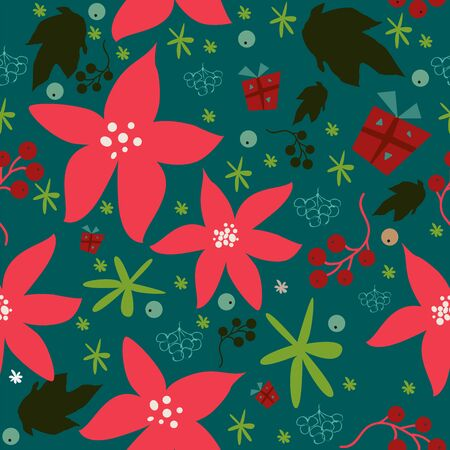 Seamless floral pattern of hand drawn poinsettia, berries, leafs, snowflakes. WinterFallMerry Christmas Collection. Great For backgrounds, wrapping paper, prints, wallpaper, cards, textiles, etc Stock Illustratie