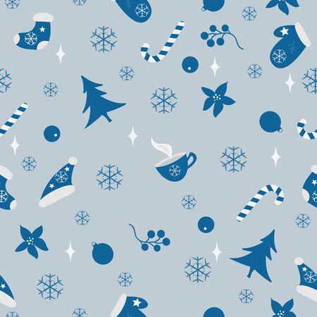 Winter Seamless Pattern. Merry Christmas, New Year, Winter Themes