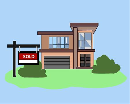 Picture. House Sold. Real Estate Sign to advertise a house listing. Basic Sign Sold in front of a modern House.