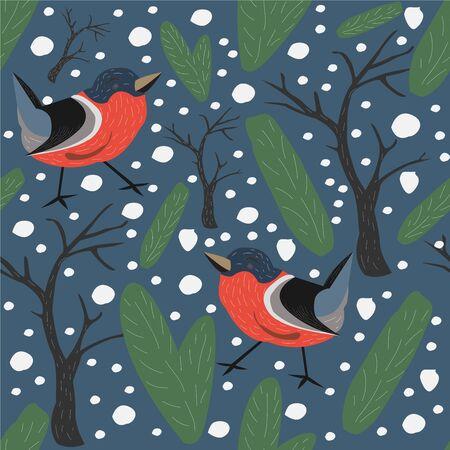 Bird Seamless Pattern. Bullfinch birds. Vector Illustration Ilustração Vetorial