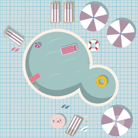 Swimming pool vector illustration with pool toys like rubber ring, pool, air mattress. Swimming Pool Top view with umbrellas, table with food, sunscreen, hat, loungers, flip flops, etc.