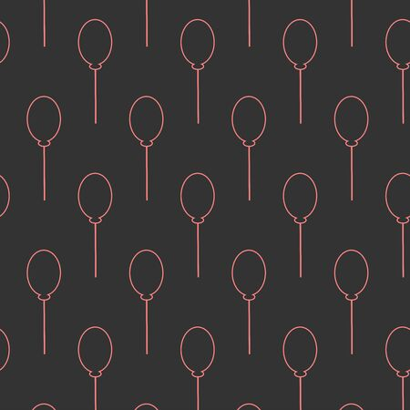Seamless pink balloon pattern on dark black background. Vector Illustration