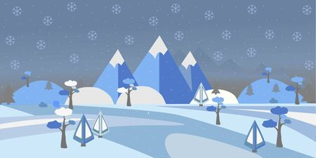 Winter Snowy Landscape with hills, trees and mountains. Suburban Buildings in Winter Landscape. Flat Vector Illustration. Modern Rural Area Иллюстрация