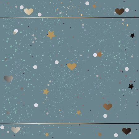 Cute Pattern with funky gold and silver elements. Festive Background. Vector Illustration