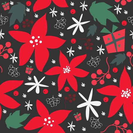 Seamless floral pattern of hand drawn poinsettia, berries, leafs, snowflakes. WinterFallMerry Christmas Collection.