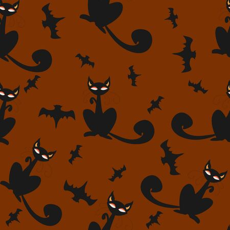 Seamless pattern of Halloween cats and bats in black, traditional orange background. Good for textile print, web, paper, wrapping, fabric, backgrounds, cards, postcards, page fill. Ilustração Vetorial