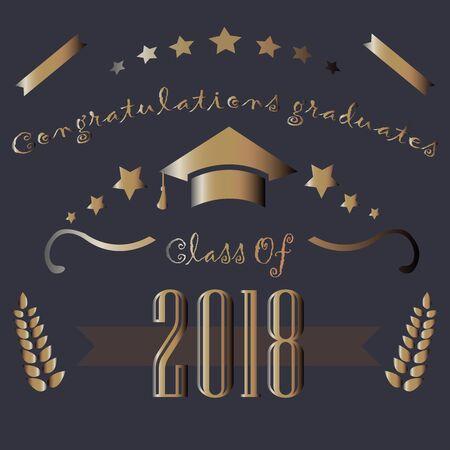 Graduation Class of Two Thousand Eighteen. Congratulations Graduates. Dark Background with Golden Elements. Golden Graduation Collection. Vector Illustration