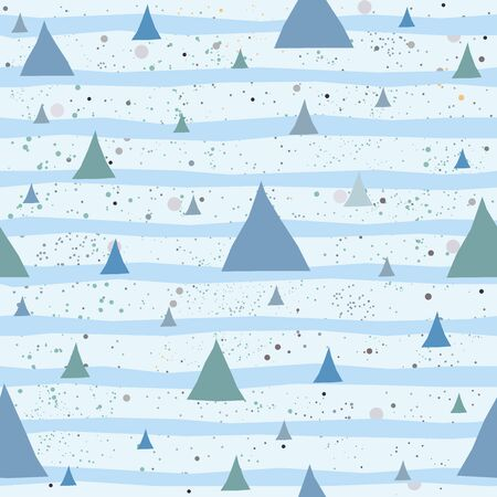 Cute Pattern with Golden triangles with pastel blue stripes. beige background with tiny dots.Hand Drawn Design.