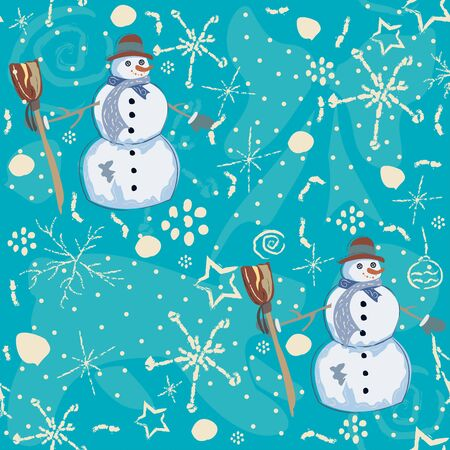 Seamless Pattern with snowman on blue background. Vector Illustration Archivio Fotografico - 133684488