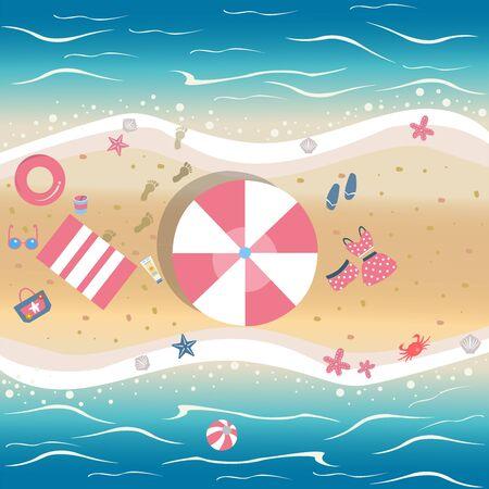 Illustration vectorielle de l'été. Bord de mer avec des objets de plage d'été. De la collection d'été. Modèle d'arrière-plan. Pour cartes, cartes postales, affiches, bannières, etc.