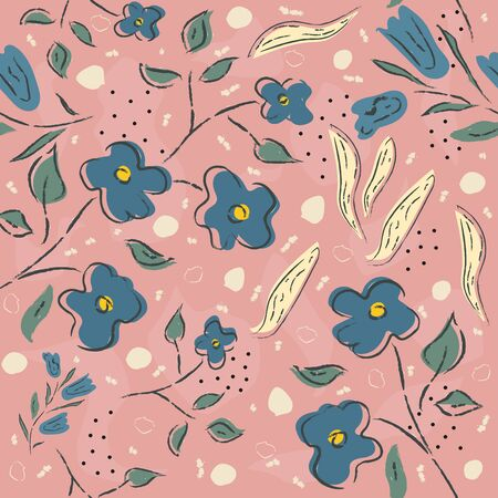 Seamless Floral Pattern. Hand Drawn. Vector Illustration