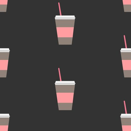 Seamless repeating Pattern with coffee cup on dark background Stok Fotoğraf - 133379146