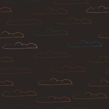 Seamless Pattern with Clouds. Scandinavian Style. Vector Illustration