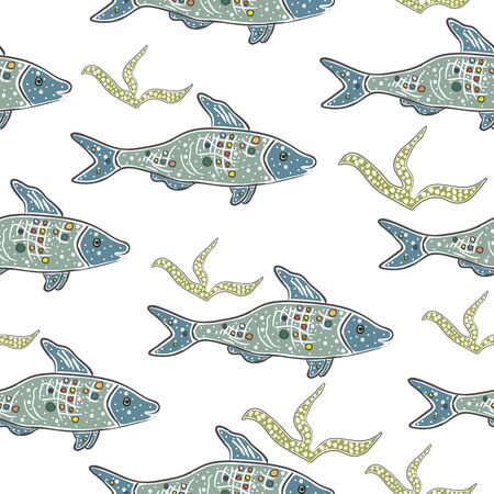 Vida marina dibujada a mano. Estilo escandinavo dibujado a mano. Trabajo detallado. Ilustración vectorial Ilustración de vector