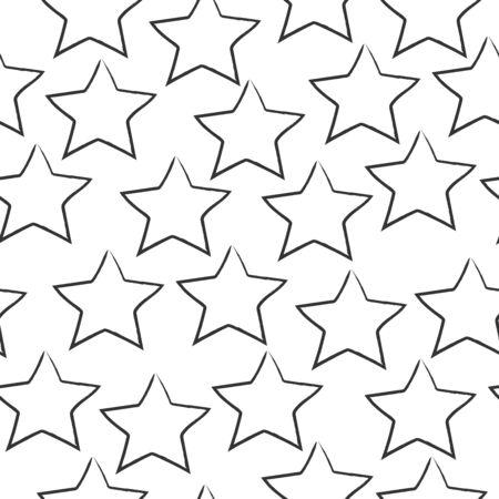 Seamless Pattern With dark Stars on white Ilustração