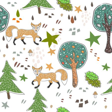 Seamless fox pattern with cute trees, stars, foxes and abstract shapes. Cute Scandinavian Style. Reklamní fotografie - 134673218