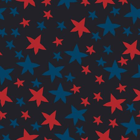 Seamless Pattern With Colorful Stars on black. Scandinavian Style Illustration