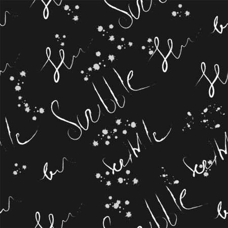 Seamless Pattern with Hand Drawn Elements and Lettering. Elegant Background. Scandinavian Style. Vector Illustration Vettoriali