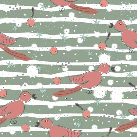 Seamless Pattern with Colorful background and birds. Scandinavian Style.