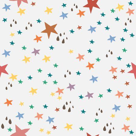 Seamless Pattern With Colorful Stars on black. Scandinavian Style Illusztráció